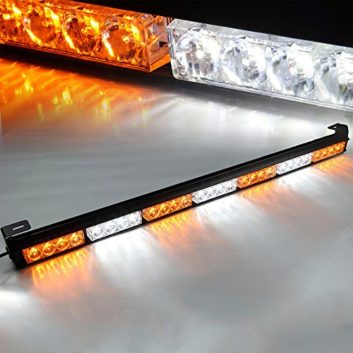 Xprite 31.5″ 7 Modes Traffic Advisor Emergency Warning Vehicle Strobe Light Bar Kit (White/Yellow)