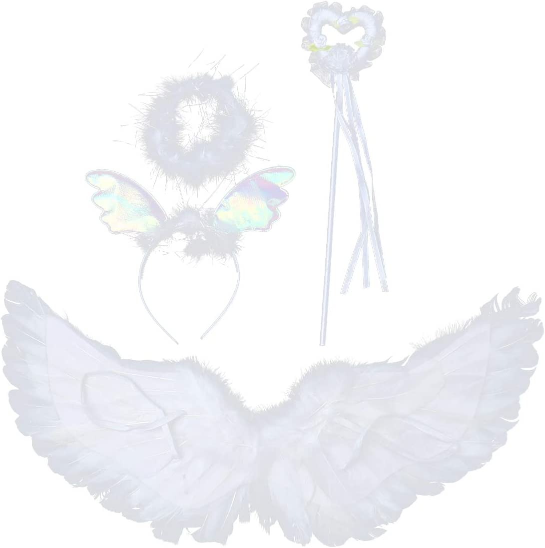 """16/""""x16/"""" Fairy Angel Butterfly Wings Infant Toddler Child Costume 3 Pcs White"""