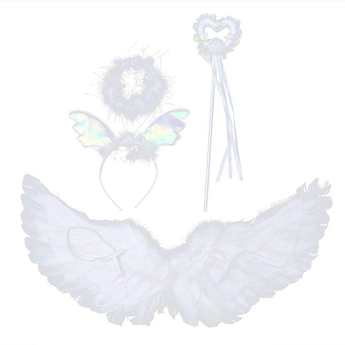 Amazon.com: FENICAL Angel Wings and Halo Headband Fairy ...