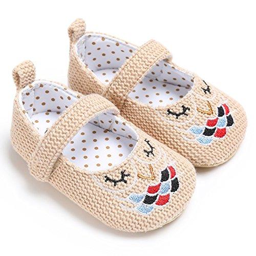 BOBORA Bebes Primeras Ninas Zapatos De Caminar Zapatos De Princesa Bordado caqui