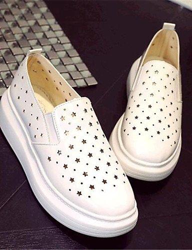 mocasines 7 Eu39 Zq 5 Uk4 semicuero Cn39 creepers De 5 Black 5 Blanco Casual Mujer Zapatos us6 exterior Uk6 negro Gyht us8 Eu37 Cn37 plataforma Plata Silver ZwqZ1Yr