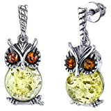 Sterling Silver Multi Color Cognac and Lemon Baltic Amber Drop Dangle Owl Wisdom Earrings