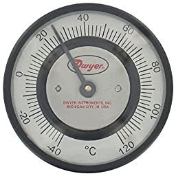 Dwyer Pipe-Mount Bimetal Surface Thermometer, STC451, -50 to 250°F, 1-5/8\