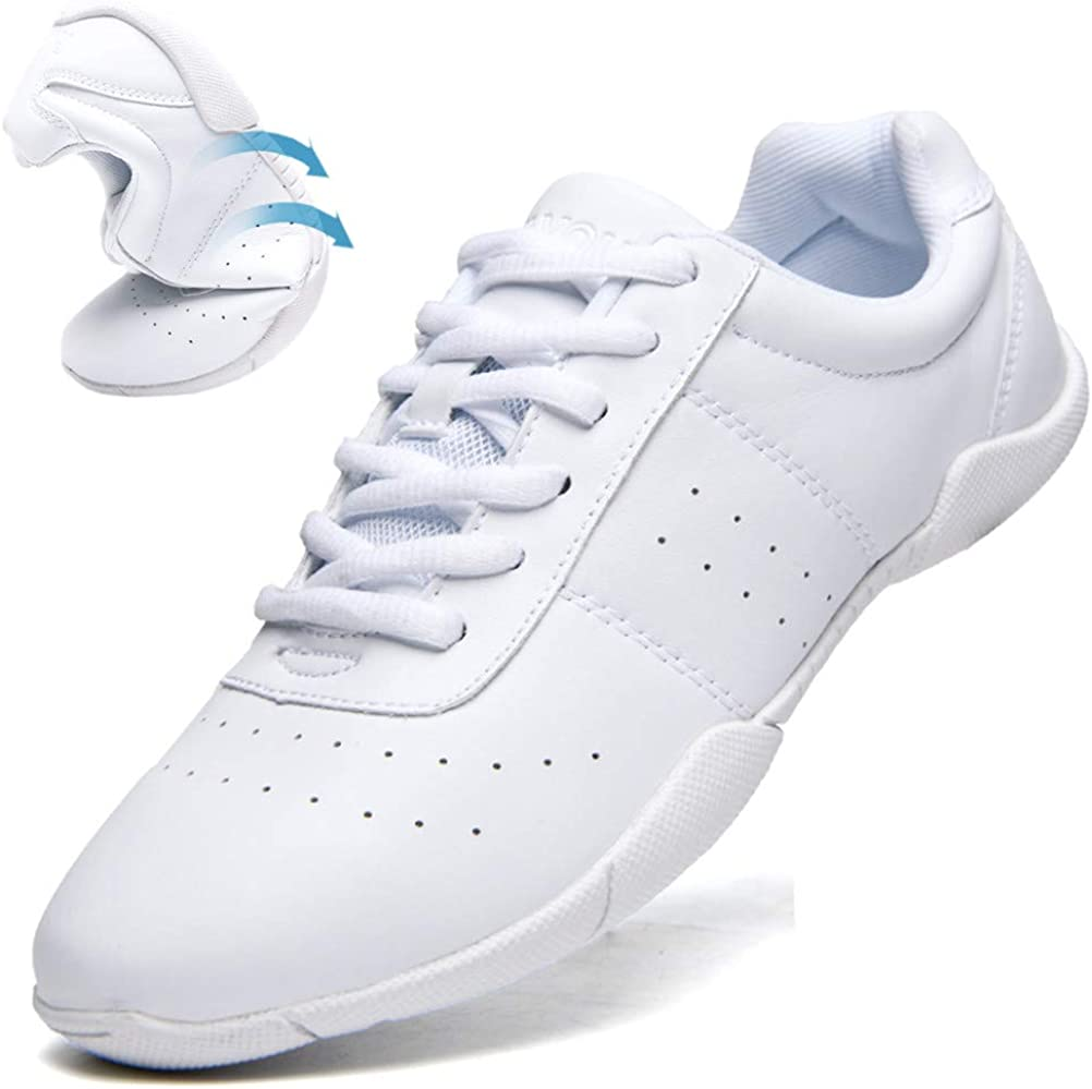 DADAWEN Women's Athletic Training White Cheerleading Shoes