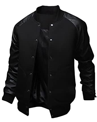 hot-selling authentic attractive designs shop best sellers ZhuiKun Men's Baseball Bomber Jacket Slim Fit Coat Faux ...