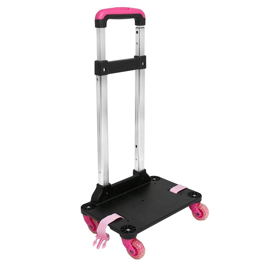 Kids Wheeled Trolley, Backpack Trolley Luggage Cart Detachable 360 Rolling wheels Students School Bag Hand Carts Aluminum Trolley with Buckles Straps(4 Wheels Rose Red) by IvyH