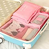 Style Travel package, 6 pieces of waterproof clothing, underwear finishing bag, travel bag, including six sets. (Pink)
