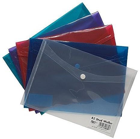 5 x alto grado A5 de prensa Stud Documento de plástico carteras portadocumentos carpetas 1 - Pack: Amazon.es: Oficina y papelería
