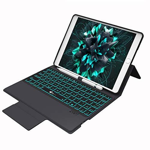 Keyboard Case for iPad New 2018 iPad(6th Gen), 2017 iPad(5th Gen), iPad Pro 9.7, iPad Air 2 & Air 1,iPad 9.7 inch Wireless/BT Backlit Thin & Light ,7 Color Backlight Keyboard with Auto Sleep/Wake