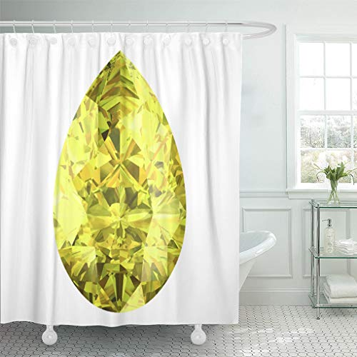 Semtomn Shower Curtain Brilliant Black Diamond Yellow Sapphire White Bonus Crafts Crystal Shower Curtains Sets with 12 Hooks 72 x 72 Inches Waterproof Polyester Fabric Brilliant Yellow Sapphire Gem