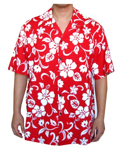 RJC Top Quality Hibiscus Hawaiian Aloha Shirt, L, Red
