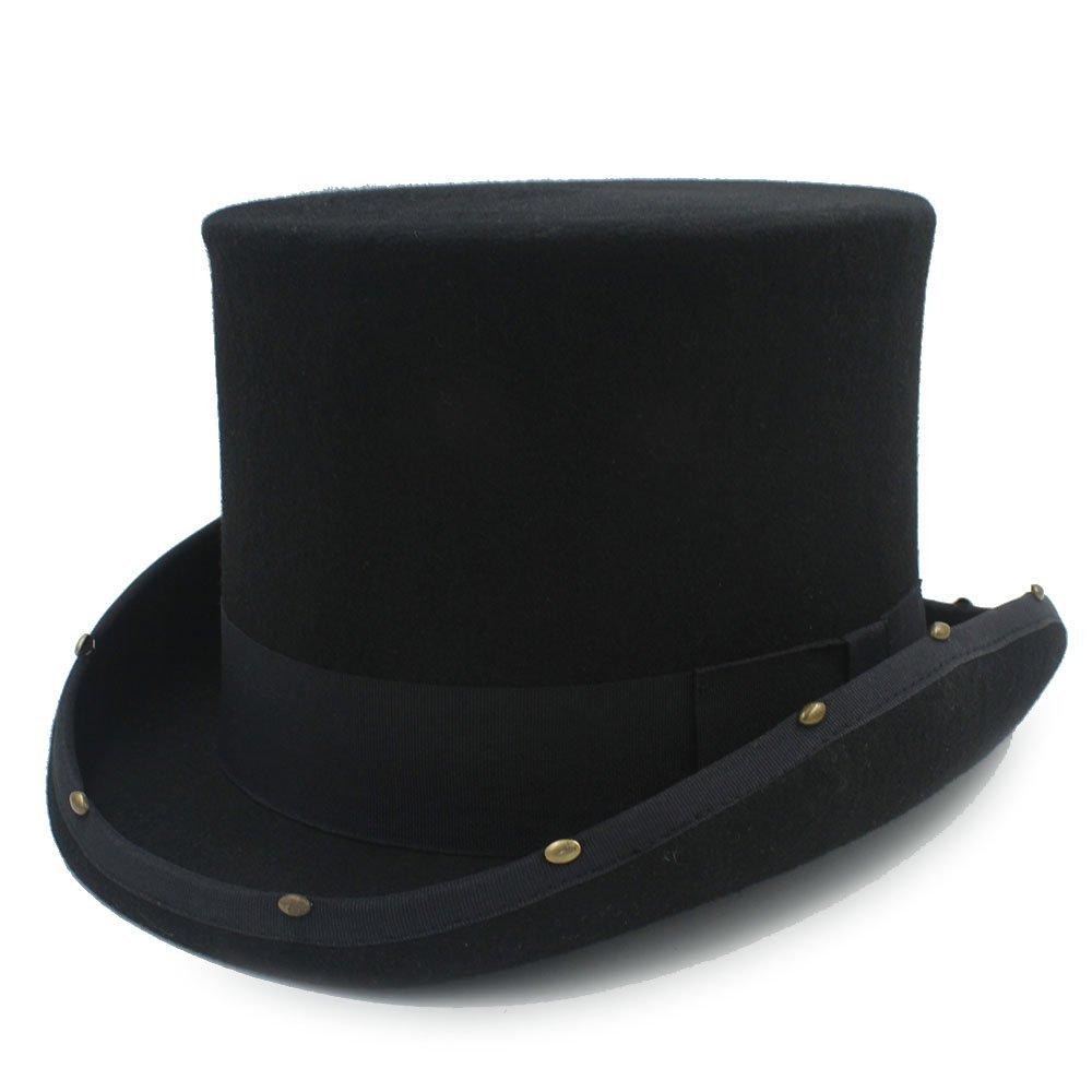 CP /& YR 15CM Top Hat Steampunk Hat Handmade Rivet MAD Hatter Vintage Women Men Traditional Wool Fedoras Hat Uncle Sam Beave Hat