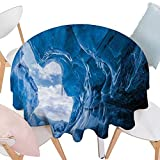 cobeDecor Natural Cave Dinner Picnic Round Table Cloth Glacier Frozen Chilled Den in Iceland Natural Odd Forms Nordic Scandinavian Image Waterproof Round Table Cover for Kitchen D60 Blue