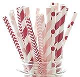 Valentines Straws, Red & Pink Wedding Straws (25 Pack) - Kids Valentine's Party Decorations, Valentines Day Supplies, Valentine's Favor Gifts
