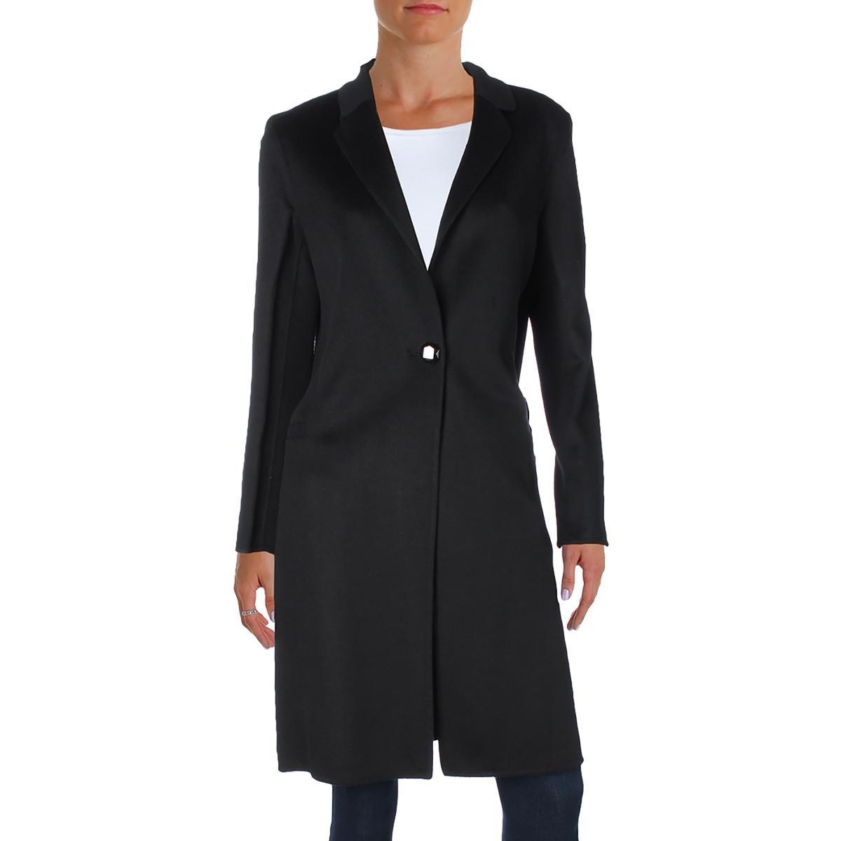 Nanette Lepore Women's Elegant Double Faced Single Breasted Wool Blend Coat, Black, Small