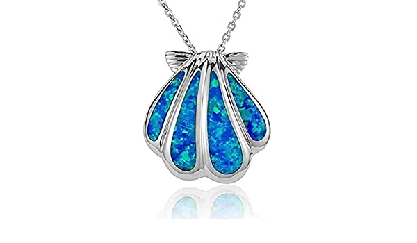Tropical USA Sterling Silver Synthetic Blue Opal Infinite Love Necklace Pendant with 18 Box Chain