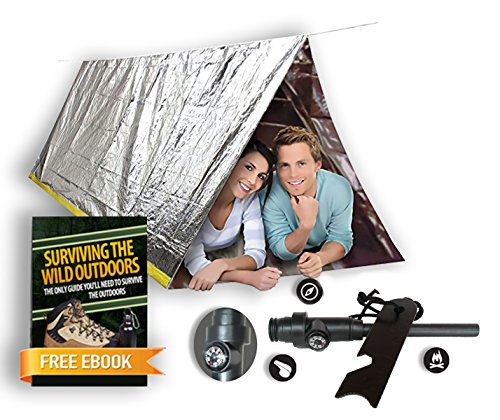 Emergency Mylar Tube Tent & Magnesium Fire Starter Kit | 8' X 5' Thermal Survival Shelter | Conserves Heat | Best Survival Gear (Tube Survival Tent)
