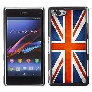 Omega Case Carcasa Funda Case Bandera - Sony Xperia Z1 Compact ( Great Britain UK Union Jack Grunge Flag )