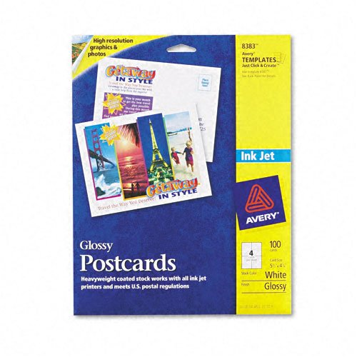 (Avery : Inkjet-Compatible Glossy Photo-Quality Postcards, 4-1/4 x 5-1/2, 4/Sheet, 100/Pk -:- Sold as 2 Packs of - 100 - / - Total of 200)