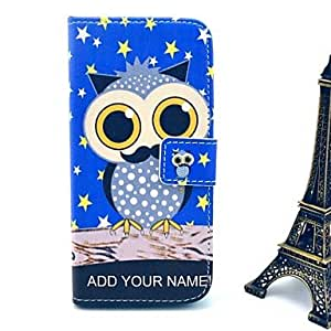 Owl and Star Pattern PU Leather Cover with Stand and Card Slot for iPhone 6