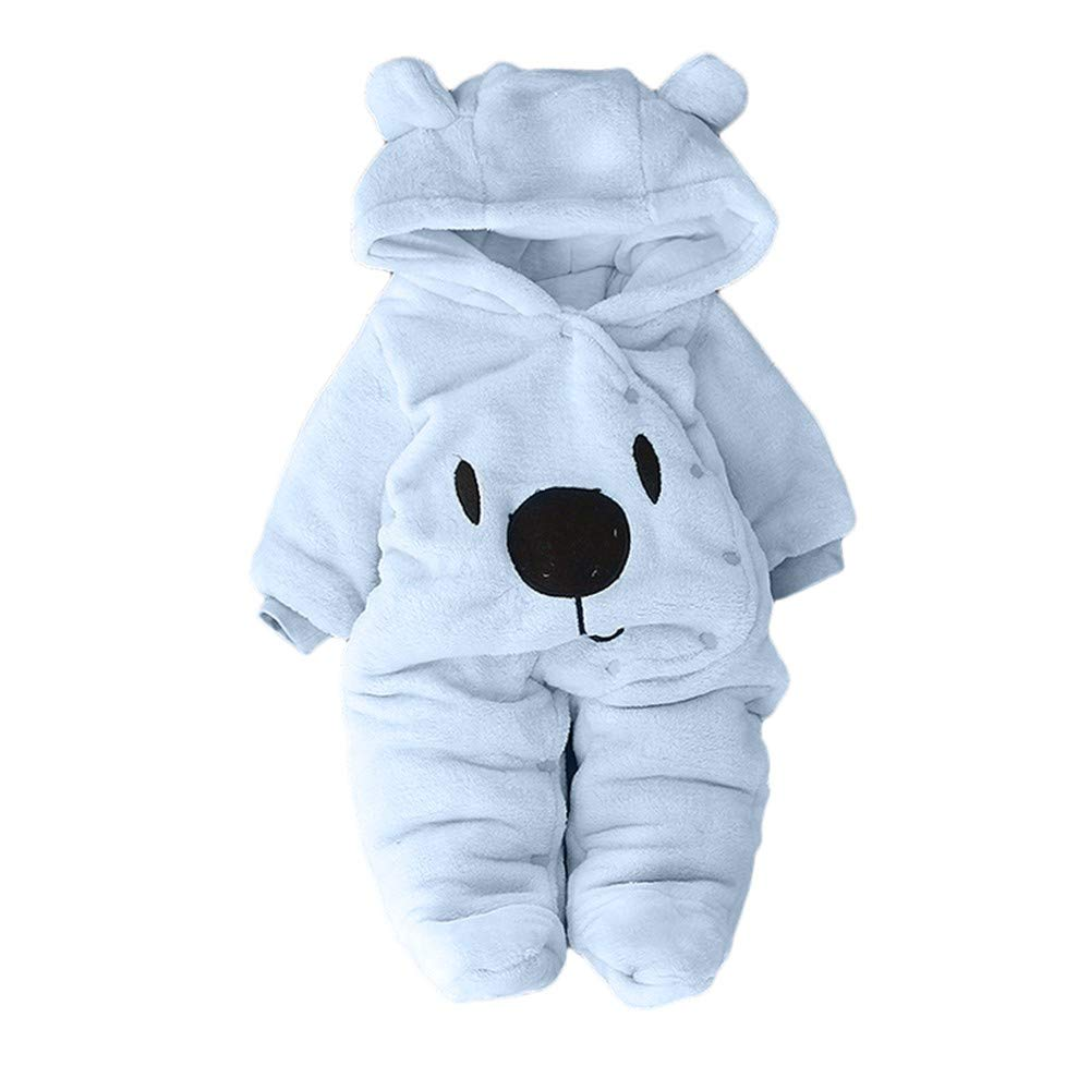 VEKDONE Newborn Baby Girl Boy Solid Cartoon Bear Velvet Hooded Jumpsuit Romper Clothes