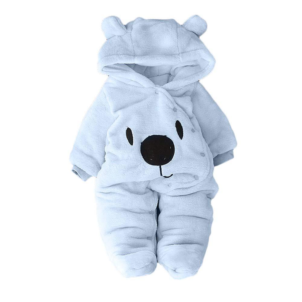 Fartido Newborn Baby Girl Boy Romper Solid Cartoon Bear Velvet Hooded Jumpsuit (Light Blue, 18-24 Months)