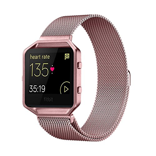 Fitbit Blaze Band with Frame, Andyou stainless steel Replacement Adjustable Band with Metal Frame for Fitbit Blaze Women Men,Rose pink