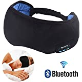 Sleeping Eye Mask with Bluetooth Speaker Headphones, Wellerly Adjustable 20-26.5inch 4.1 Wireless Bluetooth Eye Shades Travel Headsets with Speakers Microphone Washable for Men and Women Black