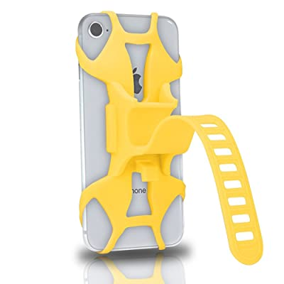 TOMYUANYI Universal Premium Silicone Bike Phone Mount for Motorcycle - Bike Handlebars,Adjustable,Fits iPhone X, iPhone 8 | 8 Plus, Galaxy S9, S8, S7,Cell Phone Holder (Yellow)