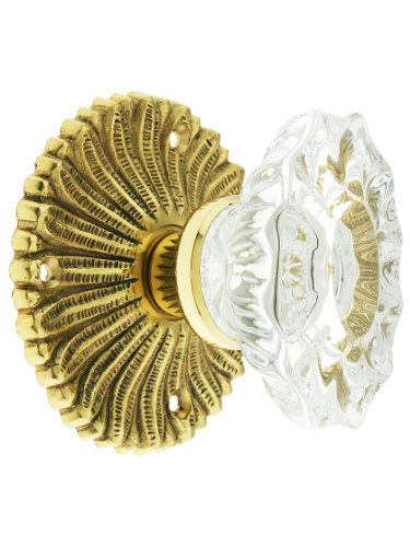 Hollywood Regency Door Set With Fluted Oval Crystal Knobs Privacy Set In Polished ()