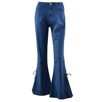 Mujer Vaqueros Acampanados Pantalones Largos Elástico ...