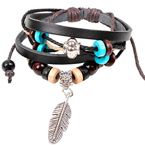 - IEason Clearance New Indian Style Wooden Bead Wrist Bracelet Leather Feather Jewelry