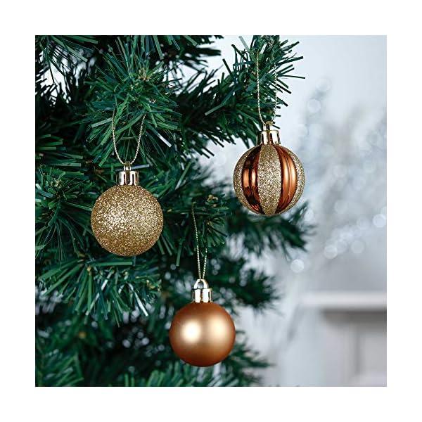 Valery Madelyn Palle di Natale 40 Pezzi 4 cm Palline di Natale, Legno Essenziale Rame e Oro, Base Infrangibile Ornamenti Palla di Natale Decorazione per Albero di Natale 4 spesavip