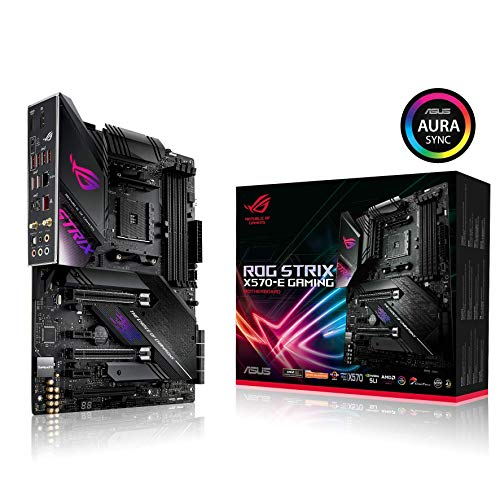 ASUS ROG Strix X570-E Gaming ATX Motherboard with PCIe 4.0, Aura Sync RGB Lighting, 2.5 Gbps and Intel Gigabit LAN, WiFi 6 (802.11Ax), Dual M.2 with Heatsinks, SATA 6GB/S and USB 3.2 Gen 2 (Renewed)