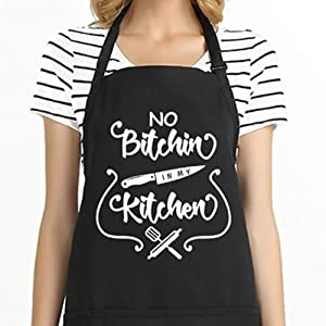 Funny Cooking Apron for Men & Women BBQ Apron with 2 Tool Pockets Adjustable Kitchen Chef Bib Professional for Cooking Baking Grilling Christmas Gift for Cook