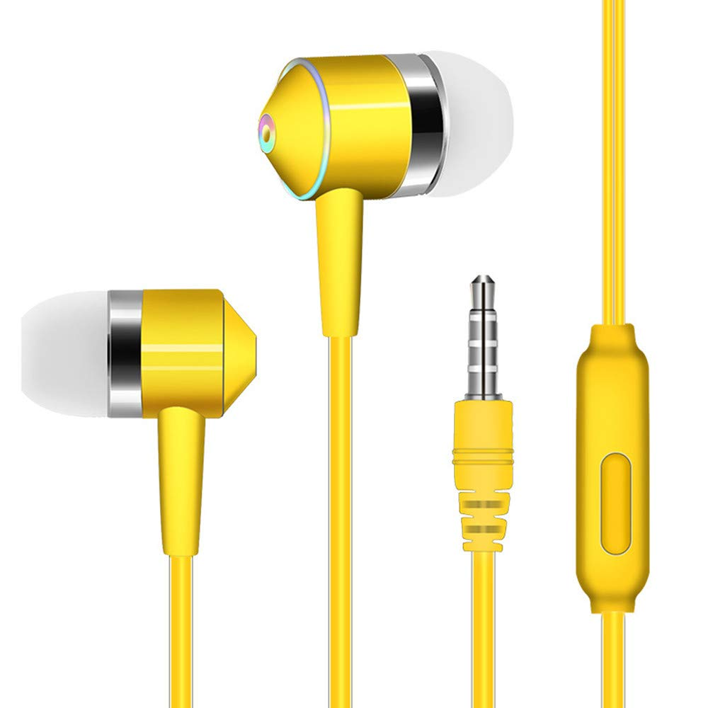 Chenway Over-Ear Gaming Headphones,Wired Piston Dual-Driver Headsets Built-in Mic,3.5mm Connector for iPhone 6/6 Plus, for Samsung S5, S4, for LG, for Xiaomi, for iPad, PC, Laptop, Tablet (Yellow)