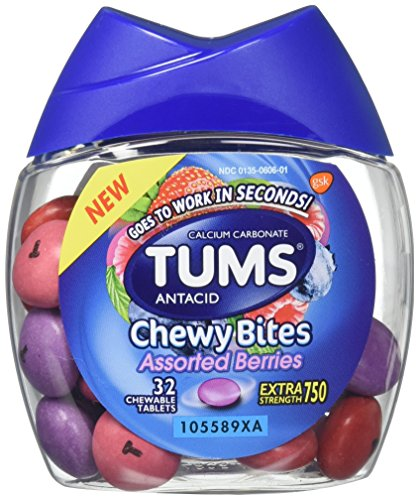 Tums Antacid Chewy Bites, Assorted Berries, 32 Chewable Tablets (Pack of 2) (Antacid Tabs Assorted)