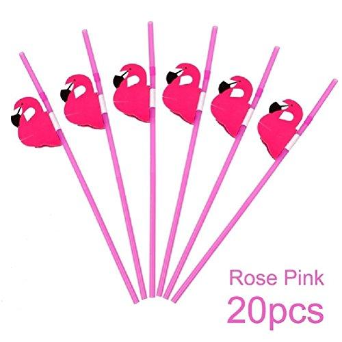 Hawaiian Shirt Invitations - 20PCS Birthday Flamingo Plastic Dringking Straw Hawaiian Party Decor Tableware