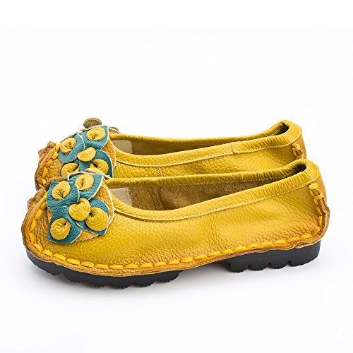 Spring Heel Mei Flat Light amp;s Casual Fall Soles Shoes Women's Yellow 38 FBxRBH
