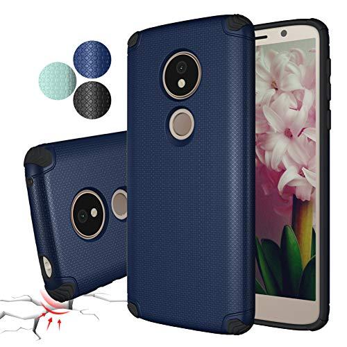 Moto G6 Play Case,Rebex Case Packed Anti-Fingerprint Built-in Magnetic Metal Plate Case, Thin Lightweight Slim Cover for Motorola Moto G6 Play (Navy Blue)