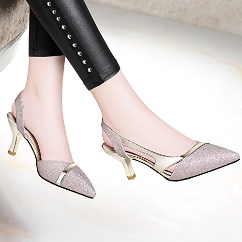 Summer HUAIHAIZ baotou Sandals Student Shoes High Female Shoes The Pumps Shoes Court Gold Heels Heeled Sandals High vpqCwYrnv