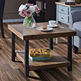 Large Square Reclaimed Wood Coffee Table Easy Assembly Hillside Rustic Natural Coffee Table with Storage Shelf for Living Room (26