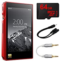 FiiO X5-III High Resolution Lossless Music Player [Red] w/ 64GB Bundle Includes, 64GB MicroSDXC High-Speed Memory Card, Professional 3.5mm-to-3.5mm Audio Cable & 6 3.5mm Splitter Stereo Plug