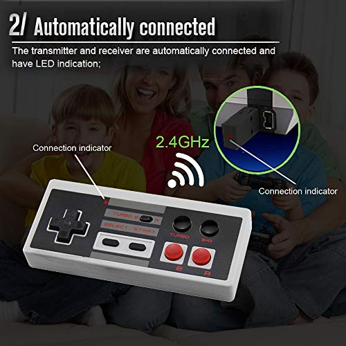 2 Pack Rechargeable NES Classic Mini Wireless Controller -TURBO EDITION-Rapid Buttons Edition for Nes Gaming System with 2.4G Wireless Receiver by Snorain (Image #3)