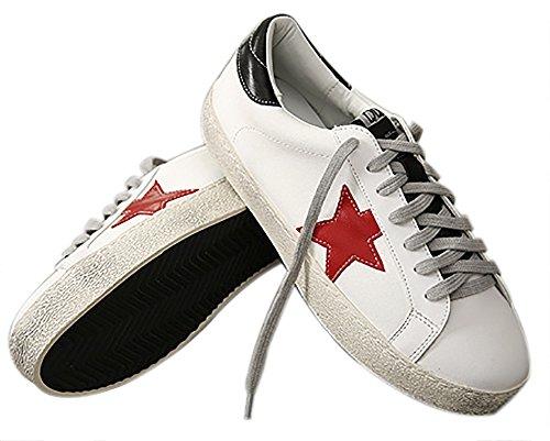 QZUnique Womens Flat Sports Shoes, Casual White Round Toe Shoes, Non-Slip Black