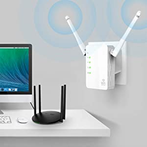 300Mbps WiFi Range Extender, Fast Speed WiFi Wireless Repeater,WiFi Signal Booster with WPS Function 2.4GHz Band Amplifier, High Gain Dual External An