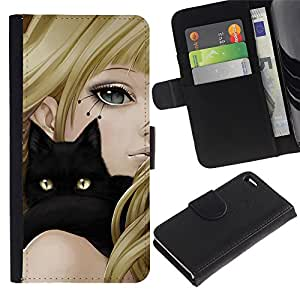 BearCase / Cuero de la tarjeta la carpeta del tirón Smartphone Slots Protección Holder /// Apple iPhone 4 / 4S /// Girl Anime Cat Blonde Black Yellow Eyes Drawing