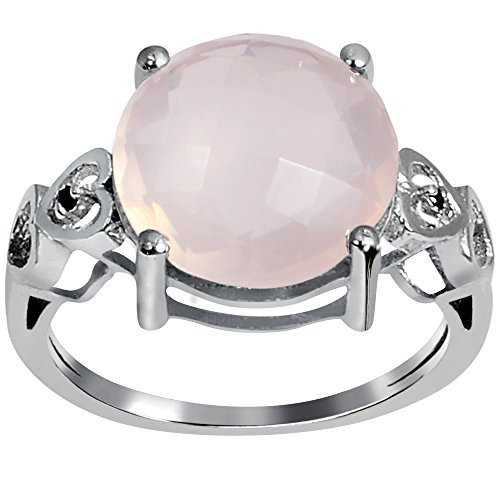 Orchid Jewelry Round Shaped Checkerboard Rose Quartz 925 Sterling Silver Ring for Women and Girls, Best Gift, Perfect for Engagement, Anniversary, Mother Day, Free Gift Box (2 Cttw, 8x8 MM)