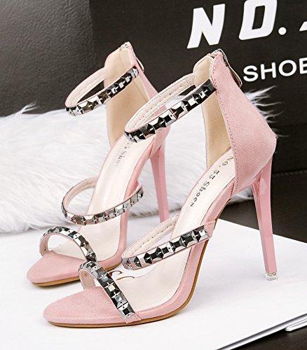 Aisun Women's Stylish Studded Dressy Stiletto High Heel Zip Up Open Toe Ankle Strap Sandals Pink nlzynQT