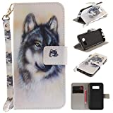 Misteem Case for Samsung Galaxy S8 Plus Animal, Cartoon Anime Comic Leather Case Wallet with Bookstyle Magnetic Closure Card Slot Holder Flip Cover Shockproof Slim Creative Pattern Shell Protective Cover for Samsung Galaxy S8 Plus [White Wolf]